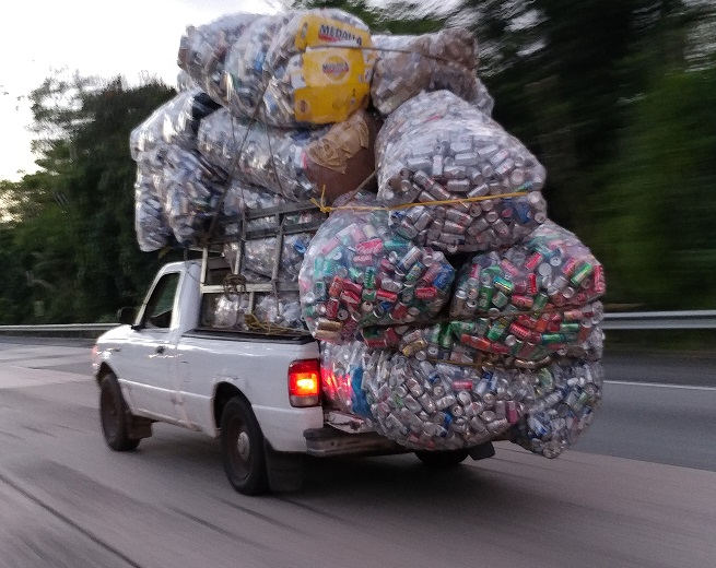 Cans in a pickup truck